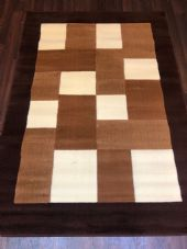 NEW MODERN BLOCK DESIGN RUGS BROWN 115X165CM 6FTX4FT APPROX LUXURY QUALITY MATS